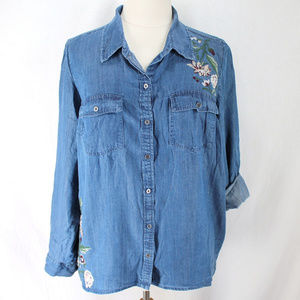 Style & Co Embroidered Chambray Shirt Button Front